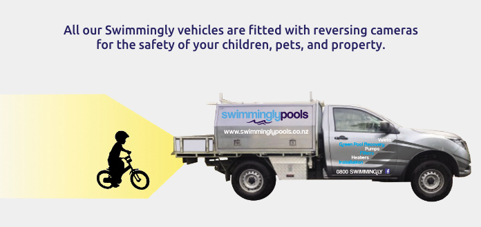 reversing sensor on Swimmingly Pools work vehicle - swimming pool installation - Swimmingly Pools